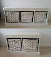 white storage unit wicker: white storage bench with   wicker baskets cushion seat neutral hallway