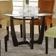 round dining table base: round dining table wood base round dining table wood base and glass on top surface with colorful chairs
