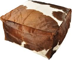 cowhide <b>pouf</b> brown white 60 x <b>60 x 30 cm</b> OTTOMAN GREY LONG ...