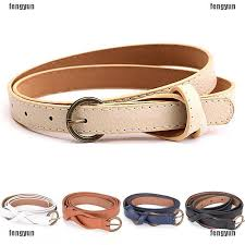 Elegant <b>Women Lady Girl</b> Skinny Waist Belt Thin Leather Narrow ...