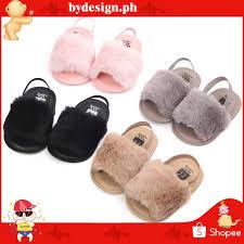 COD (3-12M) Baby Girls Plush <b>Sandals Summer</b> Anti-Slip <b>Shoes</b> ...