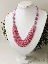 "<b>Колье</b> ""На розовой волне"". Handmade. | Colares artesanais ..."