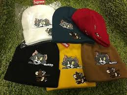 <b>Supreme</b> 2016 F/W Tom and Jerry Beanie Box Logo <b>Red</b> White ...
