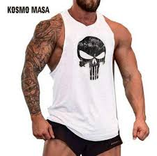 2019 <b>KOSMO MASA Skull</b> Bodybuilding Fitness Stringer Men Tank ...