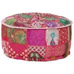 <b>Patchwork Pouffe Round Cotton</b> Handmade 40x20 cm Red Sale ...