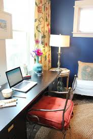 colorful eclectic home office decorating blue office walls