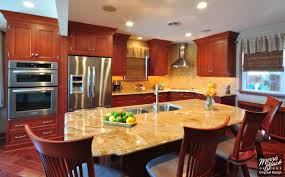 kitchen design cabinets traditional light: cherry kitchen with granite island signature cherry mandian beam kitchen oa