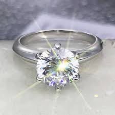 Solitaire ring Real <b>925 Sterling silver 1ct</b> AAAAA Sona Zircon cz ...