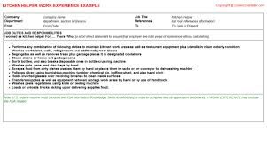 kitchen helper resume work experience sample sample kitchen helper resume