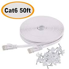 <b>Ethernet</b> Cable Cat6 <b>Flat</b> 50ft White with Cable Clips,jadaol...