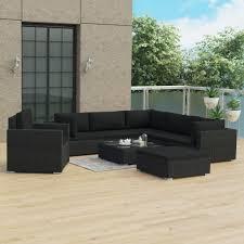 LYUMO <b>8 Piece Garden Lounge</b> Set with Cushions Poly Rattan Black