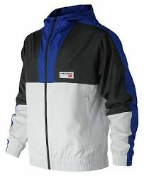 New Balance Men's <b>Nb Athletics Windbreaker</b> Blue With Black & White