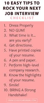 1000 ideas about job interview tips job interview checklist 10 easy tips to rock your next job interview