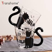 Transhome Cute Cat Glass <b>Cup 250ml Creative</b> Cat Glass <b>Mug</b> ...