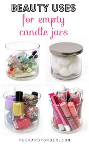 plastic makeup organizer put bathroom: when you clean out your candle jars you can use them as storage containers