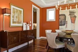 orange backdrop contemporary dining space