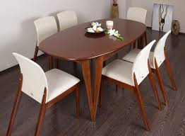 long wood dining table: furniture diy long oval shape wooden dining table with white unique chairs diy oval rectangle
