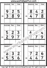Subtraction Regrouping / FREE Printable Worksheets – Worksheetfun3 Digit Borrow Subtraction – Regrouping – 4 Worksheets