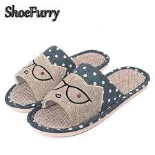 Купить ShoeFurry Summer Sandals Men Flax Home Slippers ...