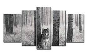 5 Panel <b>Wall Art</b> Painting Watchful <b>Wolf</b> Eyes In The Wild <b>Prints</b>