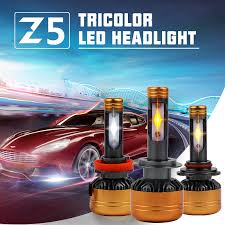 R8 <b>Car</b> Tricolor 3Color LED Headlight Z5 H1 H4 H7 H11 HB3 HB4 ...