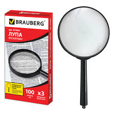 Купить <b>Лупа просмотровая BRAUBERG</b>, диаметр 100 мм ...