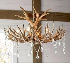 faux antler chandelier pottery barn chandelier barn board
