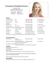 musical theater audition resume template actor resumes template audition resume format