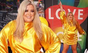 Gemma <b>Collins</b> dons a shimmering <b>yellow</b> mini dress to join a host ...