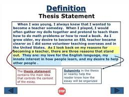 essay thesis statement definition source