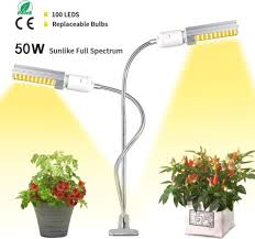 50W <b>Dual Head</b> LED Light with Lamp Holder Clip Desktop For ...