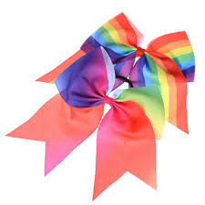 "8"" Cheerleader <b>Large</b> Rainbow <b>Sweet Girl</b> Cheer Bow Hair ..."