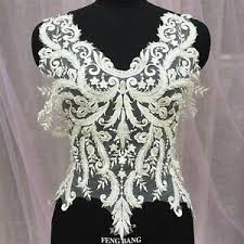 <b>Embroidery</b> Beaded Lace Appliques Patch Bodice <b>DIY</b> Wedding ...