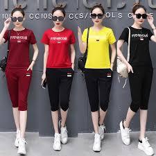 Summer <b>Korean Style Cotton Women</b> Short Sleeve Sport Suit ...