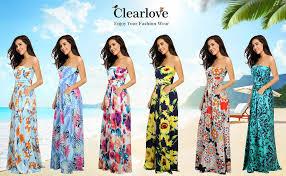 Clearlove <b>Women's Floral</b> Casual Beach Party <b>Maxi Dress</b>: Amazon ...
