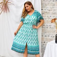 Plus Size Bohemian Kaftan <b>Midi</b> dress <b>Women Green Summer</b> ...