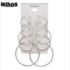 <b>5 Pairs</b> Set Hoop Earrings Spiral Big Circle <b>Woman Fashion Jewelry</b> ...