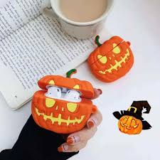 For Apple AirPods 3D Cute <b>Cartoon Halloween</b> Pumpkin <b>Case for</b> ...