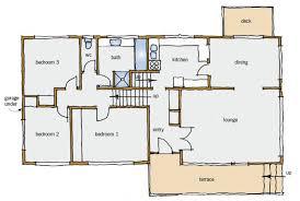 s typical building form   BRANZ RenovateFigure   Typical split level house plan   main floor