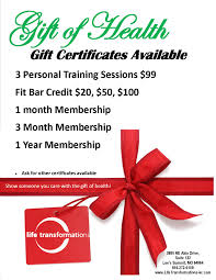 holiday gift certificates life transformations personal training holiday gift certificates