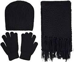 Women's <b>3 Piece Winter</b> Set - Knitted Beanie, Scarf, & Gloves, Black ...