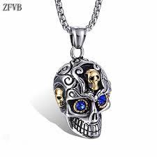 <b>ZFVB Punk Skull</b> Skeleton Necklace for Men Jewelry Stainless steel ...