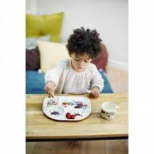 <b>Бамбуковая тарелка</b> с разделителями Волчонок <b>Ebulobo</b>, цвет ...