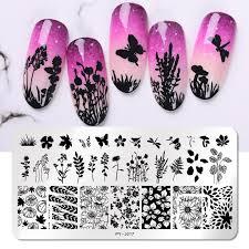 <b>PICT YOU Nail</b> Stamping Plates Flower Series Nail Image Stamp ...