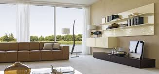 contemporary large living space with glossy wall storage brown sofa modern living room glossy big living room furniture