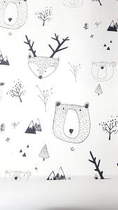 Kids wallpaper, self adhesive, bears and <b>deer</b>, <b>white</b> background ...