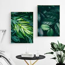 Nature Tropical Palm Leaf Monstera Wall Art Canvas Painting ...
