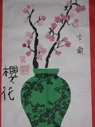 3rd grade Chinese <b>cherry</b> blossom and <b>vase</b> collage <b>paintings</b>; 12 ...