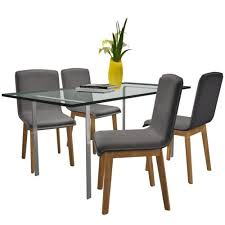 Set of 4 Dark Gray <b>Fabric Oak Dining</b> Chair <b>Indoor</b> - LovDock.com ...