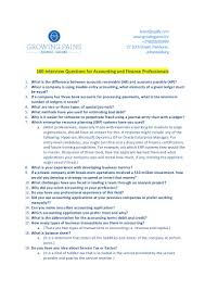 interview questions for accounting and finance professionals
